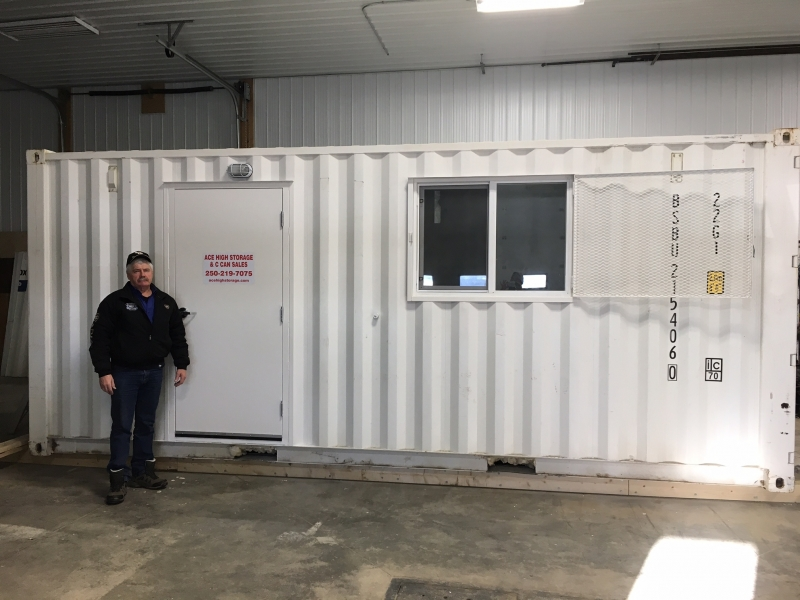 barry from ace high storage with a c-can that has been converted into a portable office c-can