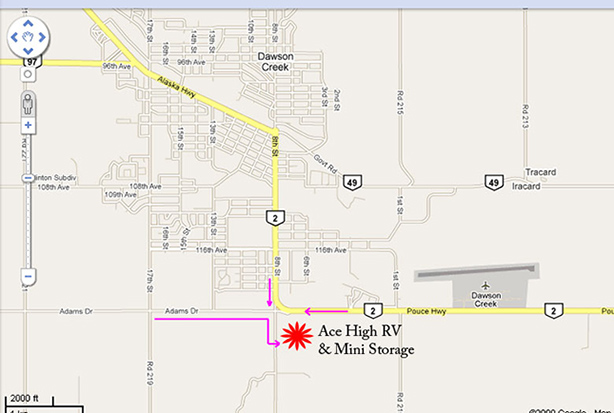 google map of dawson creek showing directions to ace high storage